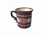 Чашка глиняная средняя обрезная Вишня (С росписью Вишенка)