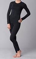 Жіноча термобілизна з вовною однотонне чорне, фото 1