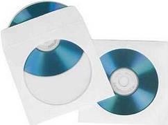 Конверт для CD и DVD дисков белый с окошком
