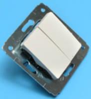 Выключатель двухклавишный, Cariva 10A, белый