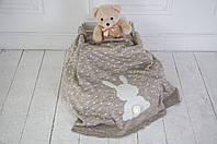 """Вязаный плед для новорожденных """"Ушастый мечтатель"""" кофейный меланж, фото 1"""