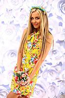 Платье Летнее льняное воротник бантик желтое