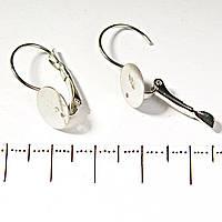 [20 мм] Заготовка на серьги под кабошон с плоской поверхностью под клей
