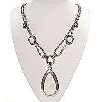 Колье с Перламутром в металле под серебро,декор розочки, вставки 12 и 50мм, длина 50см