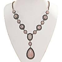 """Колье Розовый кварц  """"13 камней""""  оправа """"точка крестик""""  камень  ассорти форм """"больше меньше"""" капля 40*30мм L-50см"""