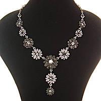 [ мм] Колье Цветы ( 15, 20, 25 мм) винтажные металл под капельное серебро стразы светлые темные