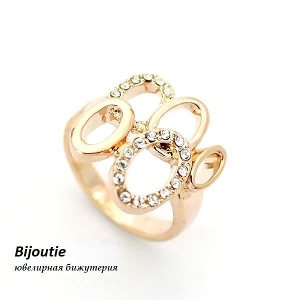 Кільце НАТХНЕННЯ ювелірна біжутерія золото 18К декор кристали Swarovski