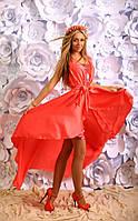Платье Летнее Двойка с палантином коралл