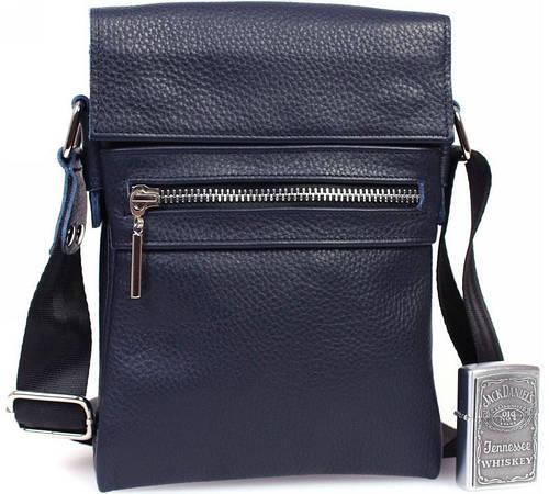 Молодежная мужская кожаная сумка для документов, синяя Alvi av-95blue
