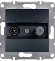 Розетка TV-SAT индивид.1dB без рамки антрацит Asfora, EPH3400471
