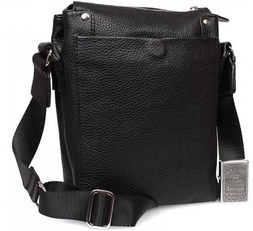Трендовая кожаная сумочка для современных мужчин, черная Alvi av-879