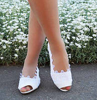 Белые летние женские туфли балетки с открытым носком и вставками макраме экокожа