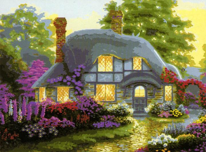 Картина по номерам Роспись на холсте Маленький домик в цветах КН300 40 х 50 см
