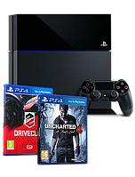 Sony PlayStation 4 (PS4) 500GB + 2 игры: Uncharted 4 (Kres Złodzieja) / DriveClub, фото 1