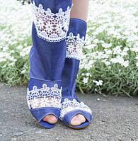 Джинсовые летние женские сапожки без застежки со вставками кружева и открытым носком