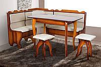 Мягкий кухонный комплект Ромео 155*115см Уголок+стол+табуретки