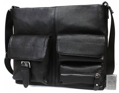 Функциональная деловая кожаная сумка для документов А4 и ноутбука, черная Alvi av-298
