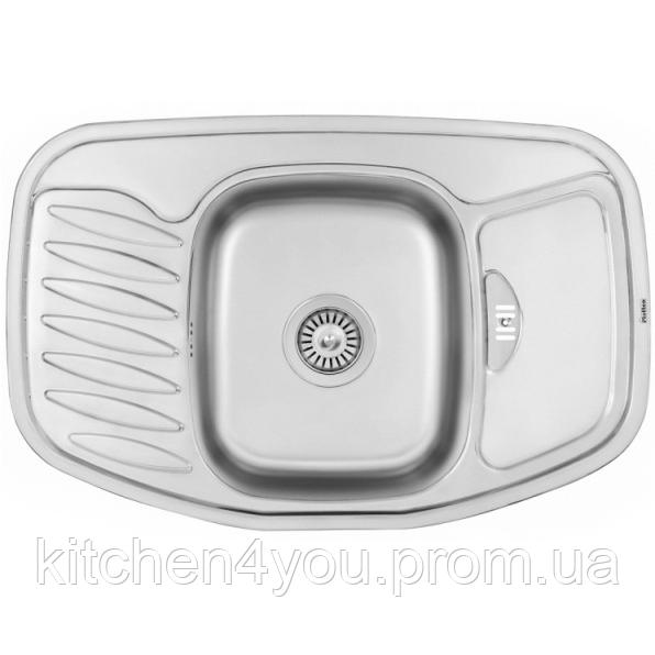 Угловая кухонная мойка Fabiano 78х51 нержавеющая сталь, микродекор