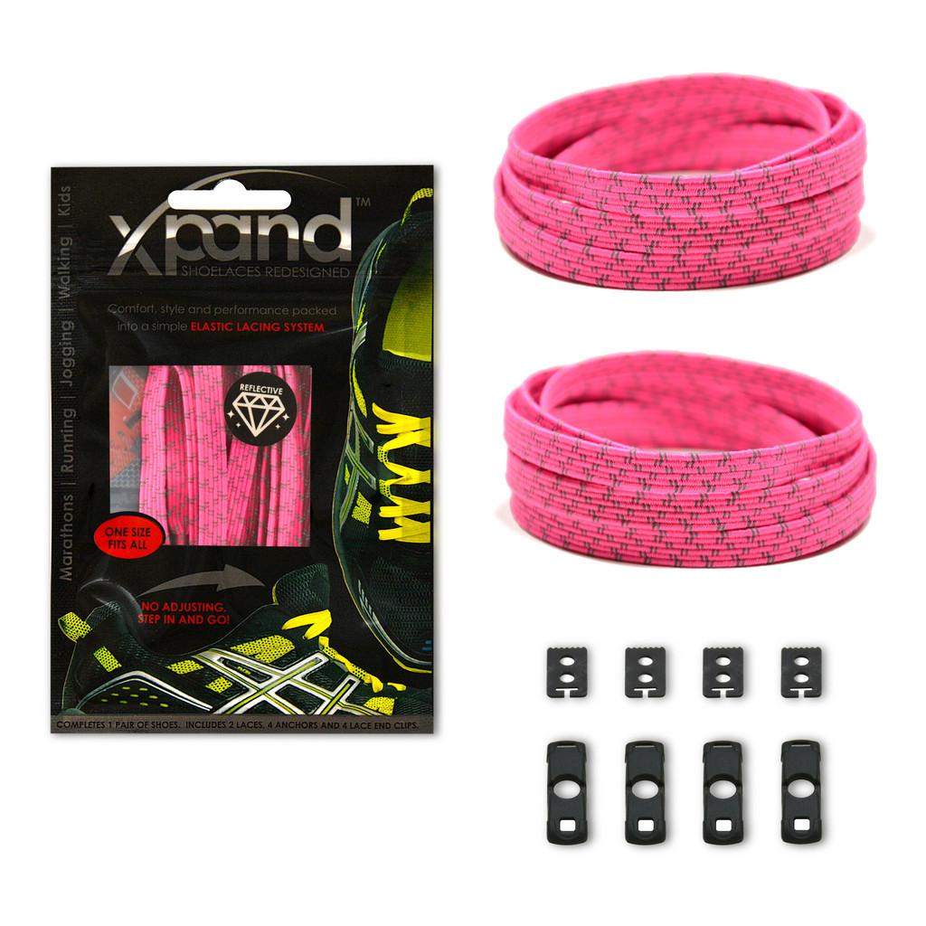 Шнурки эластичные светоотражающие XPANDⓇ NEON PINK REFLECTIVE Неоновый розовый - SmartHome в Киеве
