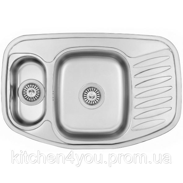 Кутова кухонна мийка Fabiano 78х51х1,5 нержавіюча сталь, микродекор