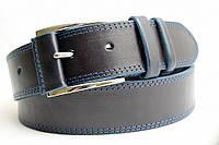 Джинсовый кожаный ремень 45 мм синий прошитый двойной синей ниткой пряжка обшита кожаной вставкой синие края