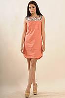 Женское платье из натурального льна (персик) р.42-52