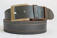 Джинсовый кожаный ремень 45 мм черный прошитый коричневой ниткой узор пряжка серебрянная квадратная
