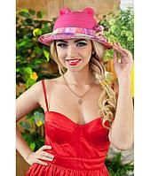 Женская летняя малиновая шляпа с ушками (шляпка-кошка) полоски на полях, цвета в ассортименте