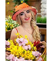 Женская летняя оранжевая шляпа с ушками (шляпка-кошка) полоски на полях, цвета в ассортименте