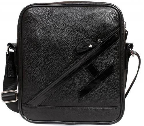 Люксовая кожаная сумка формата А5 на плечо, черная Alvi av-4-5225