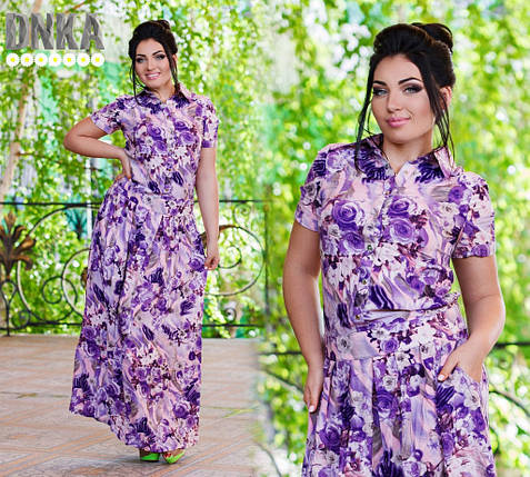 Длинное платье в цветок, батал, фото 2