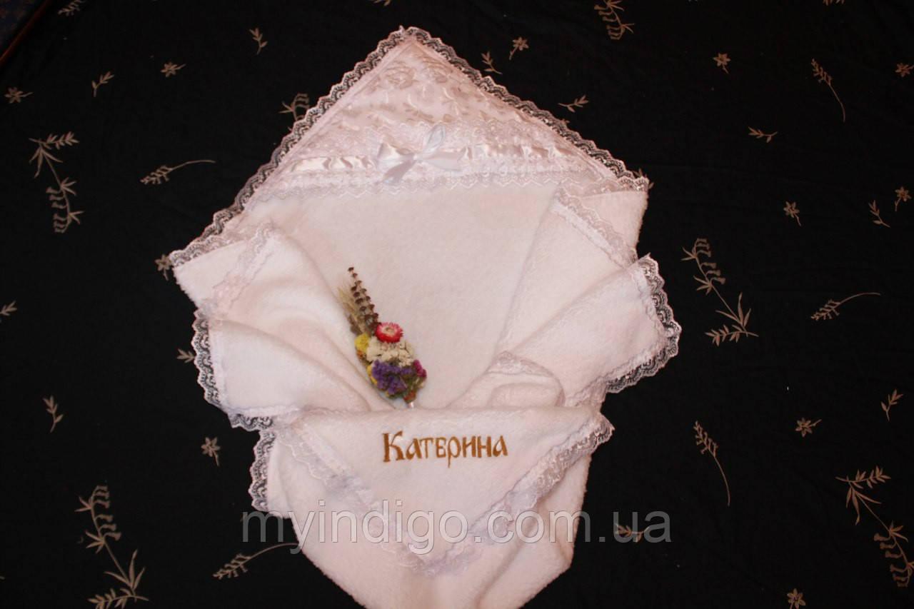 """Крыжма для крещения """" Ангел махровая """" с вышивкой имени"""