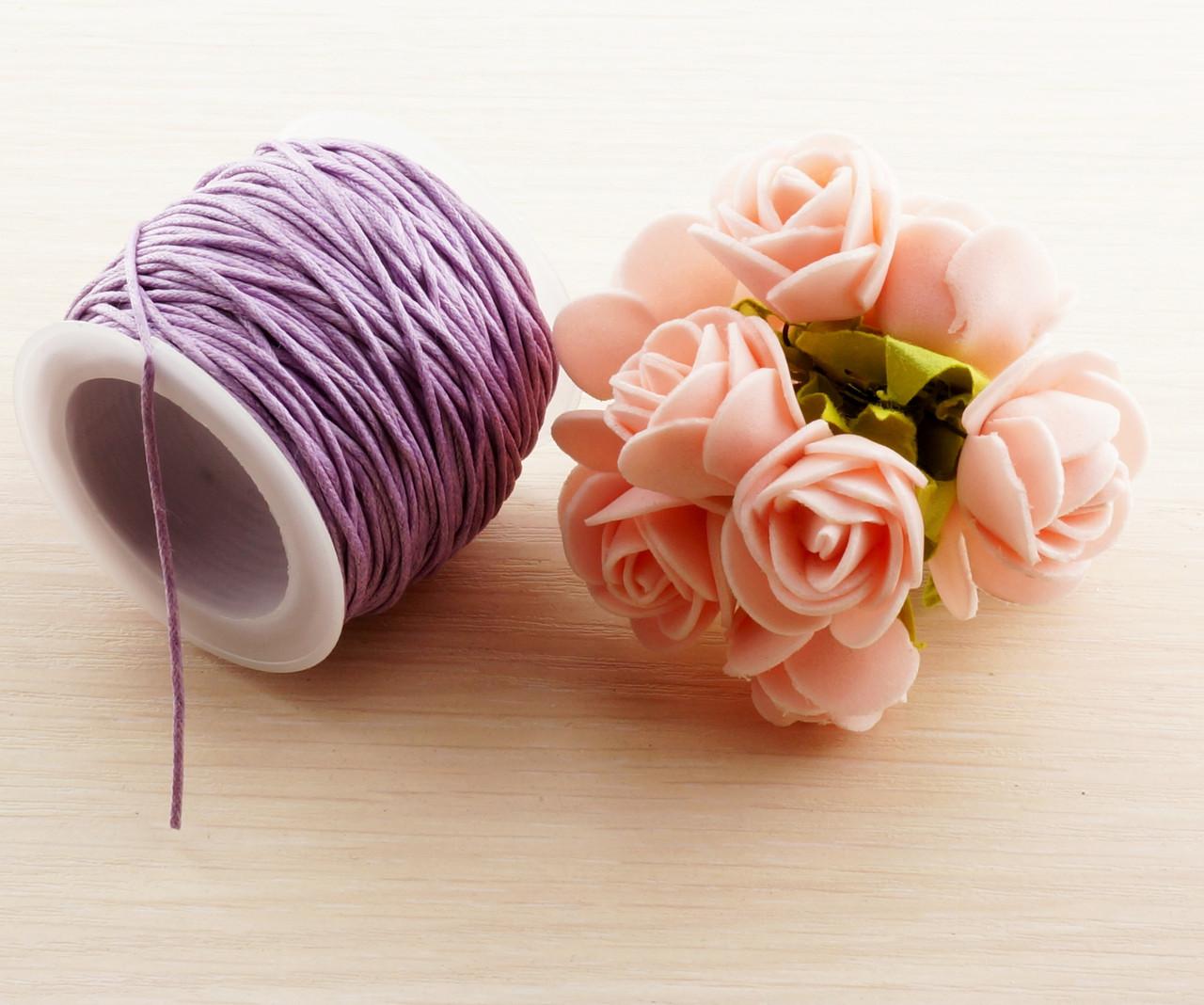 Шнур вощеный фиолетовый (1 мм) - 3 метра. Шнур для бижутерии, шитья и творчества тонкий