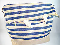 Сумка женская пляжная синяя в полоску с мешковины