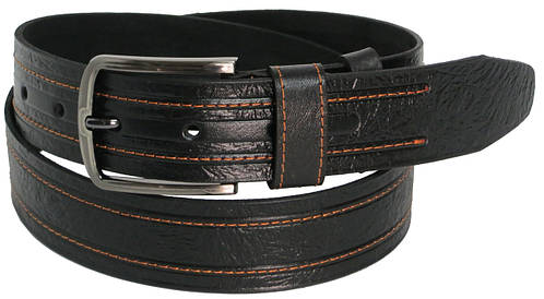 Ремень мужской кожаный под джинсы Skipper 5436-1 чёрный ДхШ: 120х4 см.