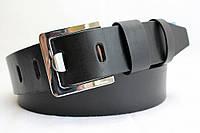 Джинсовый ремень 45 мм гладкий черный пряжка хром квадратная широкий язык