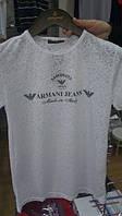 Футболка мужская модная брендовая набитым логотипом ARMANI JEANS