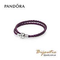 Pandora кожаный браслет 590705CPE-D серебро 925 Пандора оригинал