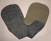 Рукавицы рабочие из джинсовой ткани с брезентовым наладонником