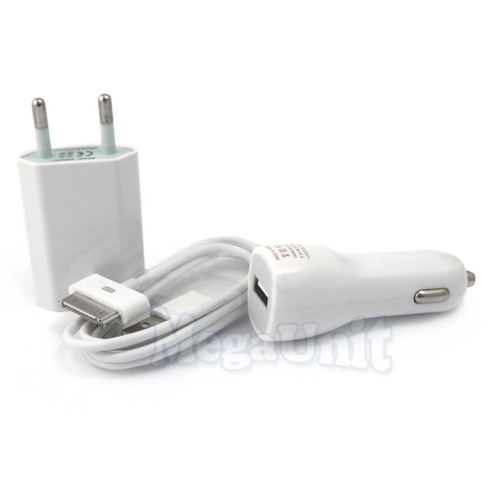 Зарядное для iPhone 4 / 4S. 3в1: Сетевое + Автомобильное + Кабель