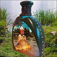 Оригінальний подарунок чоловікові рибаку Декор пляшки Кльового клювання, фото 1