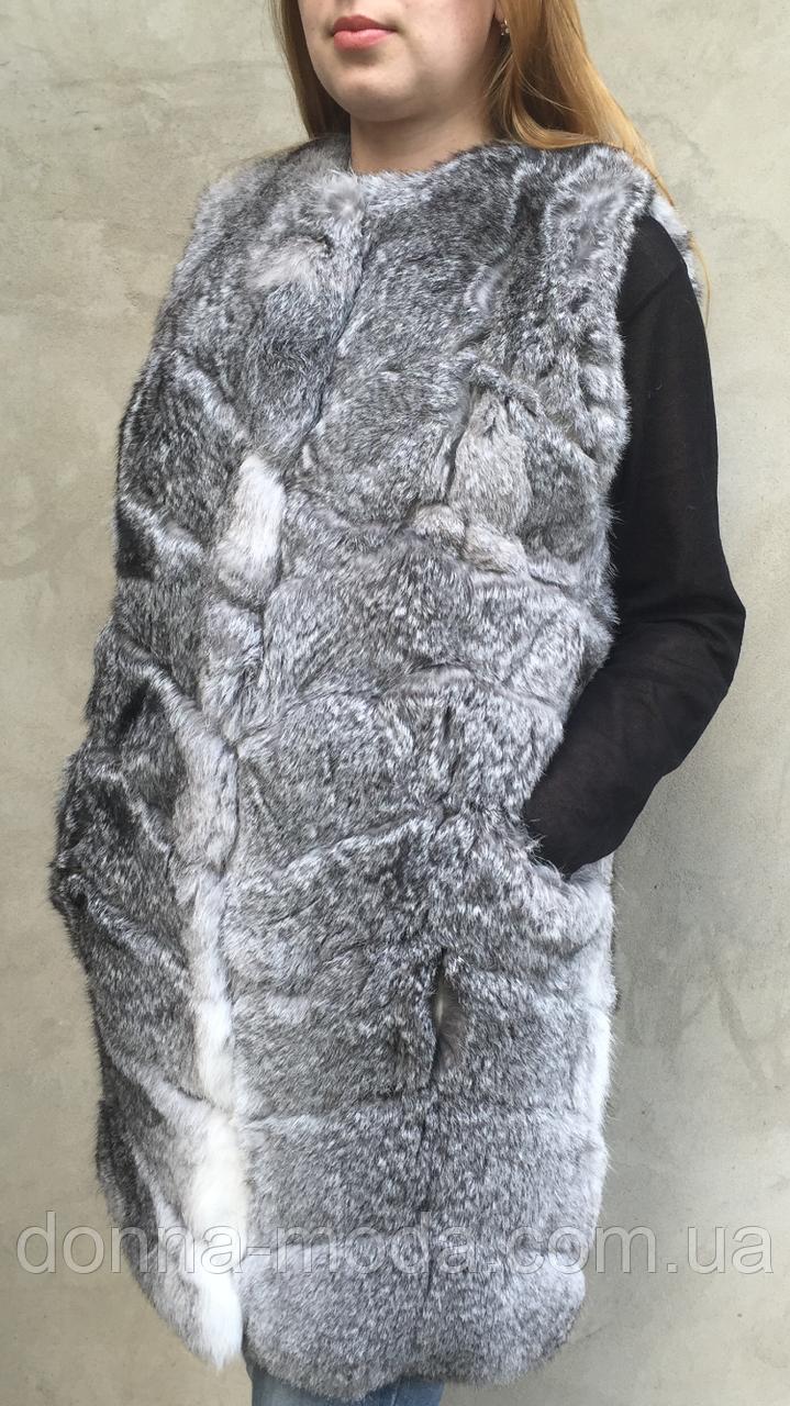 Жилет длинный из меха кролика, фото 1