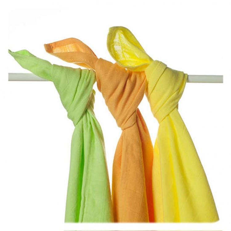Пеленки детские бамбуковые  муслиновые XKKO 70х70 двухслойная 3 шт. Цветной микс лайм