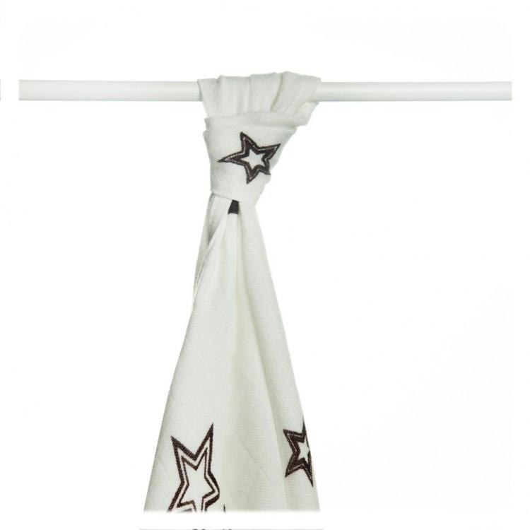Пеленки детские бамбуковые  муслиновые XKKO 90x100 двухслойная 1 шт. Белые с коричневыми звездами