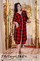 Женское платье с капюшоном большого размера Клетка вишня