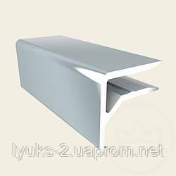 Пристенный профиль (F-профиль) АПТФ6 серебро для поликарбоната