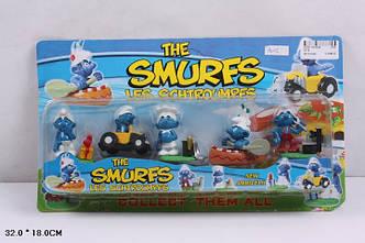 """Герои  3015 """"The Smurfs, les schtroumpfs"""" Фигурки смурфиков - 5 штук"""