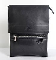 Мужская наплечная сумка-планшет из кожи от Langsa (черная) - код 19-46