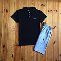 Черный, серый  спортивный костюм шорты футболка-поло Nike  найк