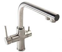 IMPRESE DAICY (55009S-F САТИН Смеситель для кухни  с подкл пить воды. (ЧЕХИЯ)